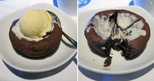 First Class Dessert: Warm Signature Chocolate Lava Cake with Vanilla Ice Cream