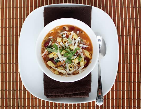 Minestrone Soup with Black-Eyed Peas and Kidney Beans