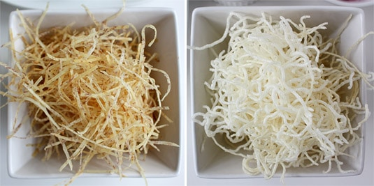 Taro root juliennes and rice vermicelli, once fried and ready to serve