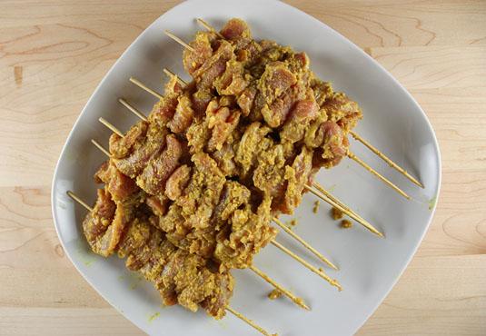Marinated Uncooked Pork Satay