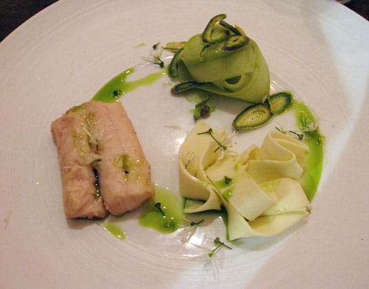 Bloesem, Amsterdam: Smoked dogfish (a shark variety) with shaved raw almonds, cucumber ribbons and onion pasta.