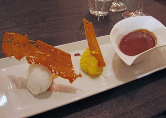 Bloesem, Amsterdam: Fresh coconut sorbet, purée of yellow carrots, chocolate soup.