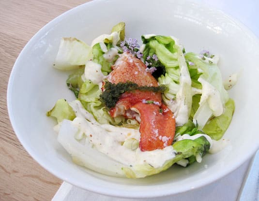 DeKas, Amsterdam: Butter lettuce seared on the barbecue, lobster claw, horseradish mayonnaise and Japanese sea berry