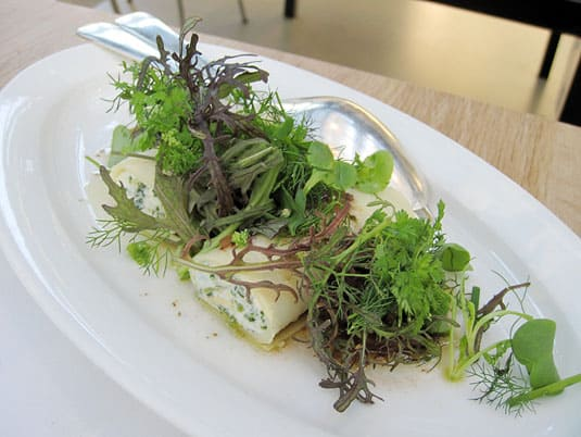 DeKas, Amsterdam: Ramsons (a relative to chives) with buffalo ricotta cannelloni and stewed onion, olives and a herb salad