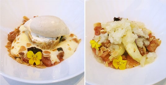 DeKas, Amsterdam: Dessert, two ways: Left - Rhubarb with sabayon and a crepe filled with mascarpone and star anise ice cream; Right - Stewed rhubarb with turned apples and an apple granita.