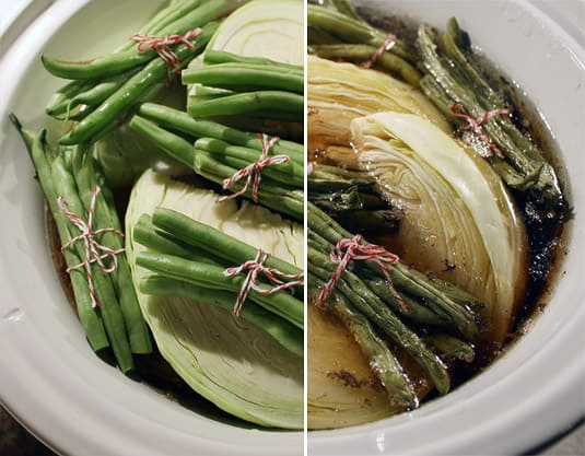 Cabbage and green beans, before and after cooking.