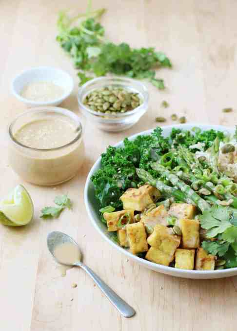 Green Buddha Bowls with Tahini Miso Dressing