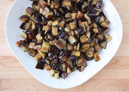 Fried eggplant cubes to make Sicilian caponata