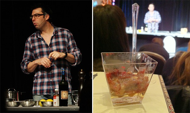 Chef François Blais (Bistro B) serving emu tartar (made with cranberry seed oil, shallots, raisins, dried cranberries and lemon juice) over a Mistelle jelly.
