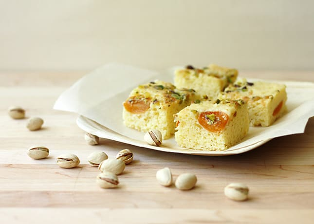 Apricot Cake with Aged Cheese and Pistachio Nuts / FoodNouveau.com
