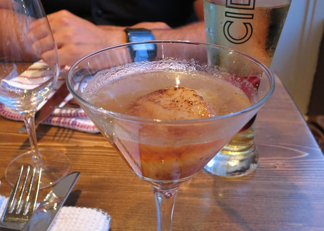 Patente et Machin's delightful dry martini that features a giant scallop deglazed in Vermouth. / FoodNouveau.com