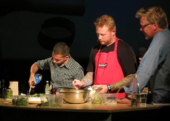Chefs Alex Cruz and Derek Dammann of upcoming Maison Publique, at the Omnivore Food Festival, Montreal / FoodNouveau.com