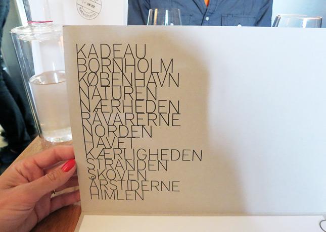 Beautiful typographic work in the menu of Kadeau Restaurant, Copenhagen // FoodNouveau.com