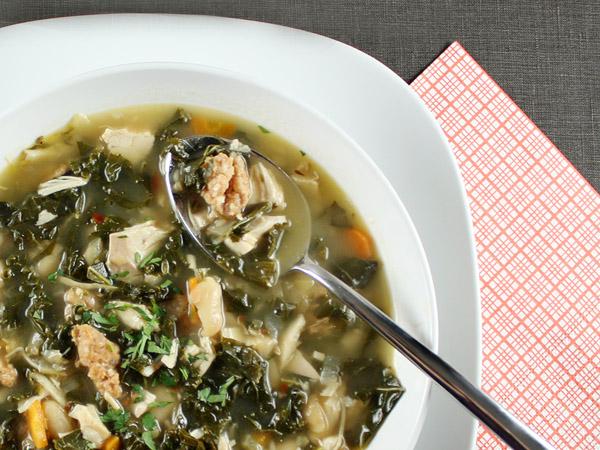 Chicken, Sausage and Kale Soup // FoodNouveau.com