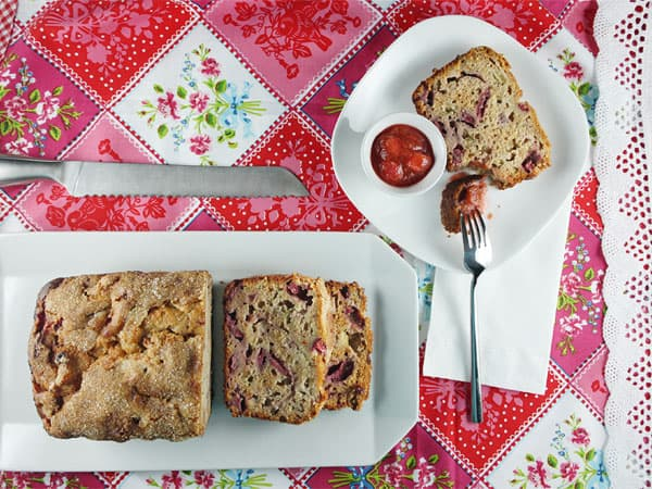Honey, Rhubarb & Strawberry Bread // FoodNouveau.com