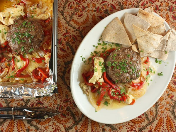 Moroccan-Spiced Lamb Patties with Peppers and Halloumi // FoodNouveau.com