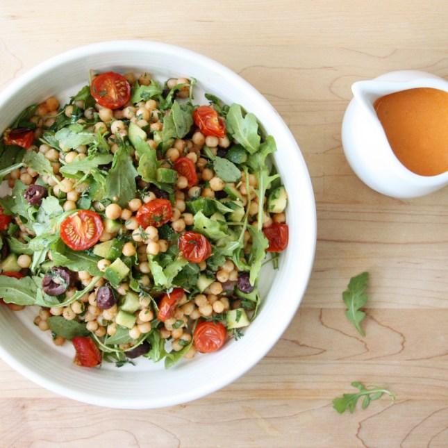 ... Arugula Israeli Couscous Salad with Roasted Cherry Tomato Vinaigrette