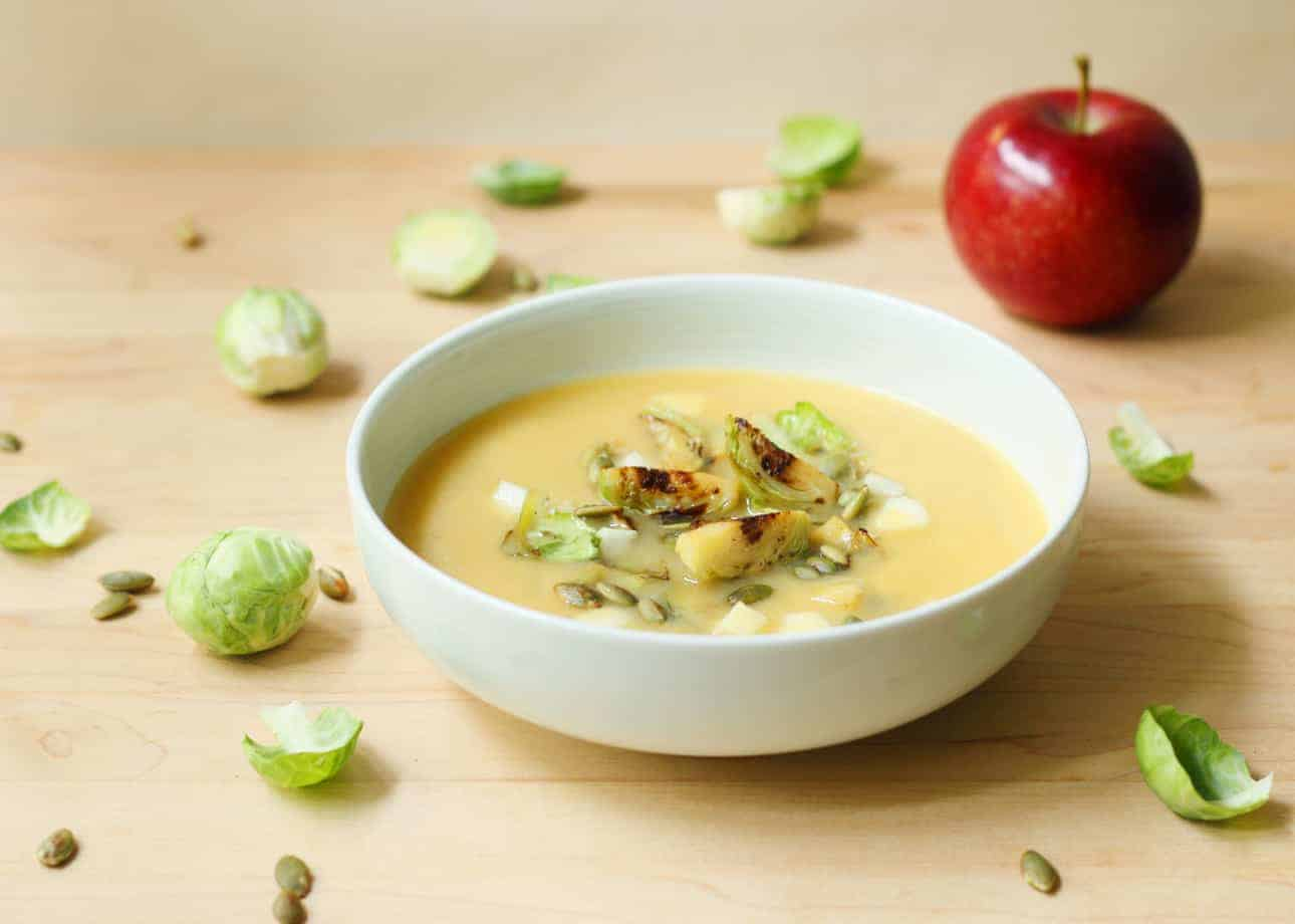 Creamy Miso Squash Soup with Seared Brussels Sprouts and Apple (Dairy Free, Vegan)