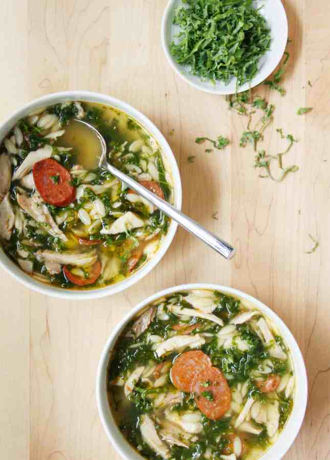 """Chicken, Kale, and Orzo Soup with """"Cheat"""" Homemade Stock, Inspired by the Portuguese Caldo Verde // FoodNouveau.com"""