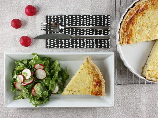 Onion and Cumin Quiche with Whole Wheat Olive Oil Crust