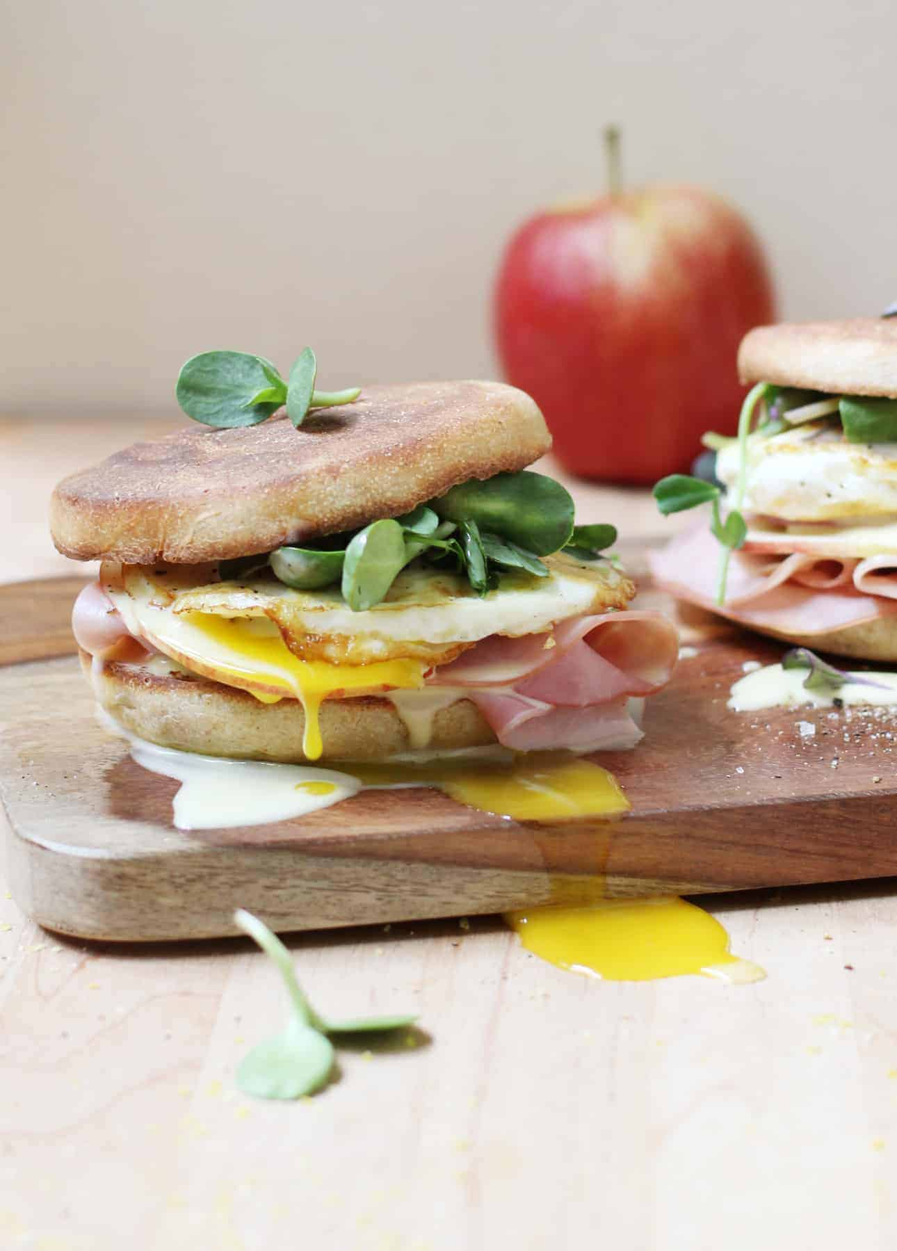 Runny Egg, Maple Ham, and Crispy Apple Breakfast Sandwich with Blender Hollandaise Sauce