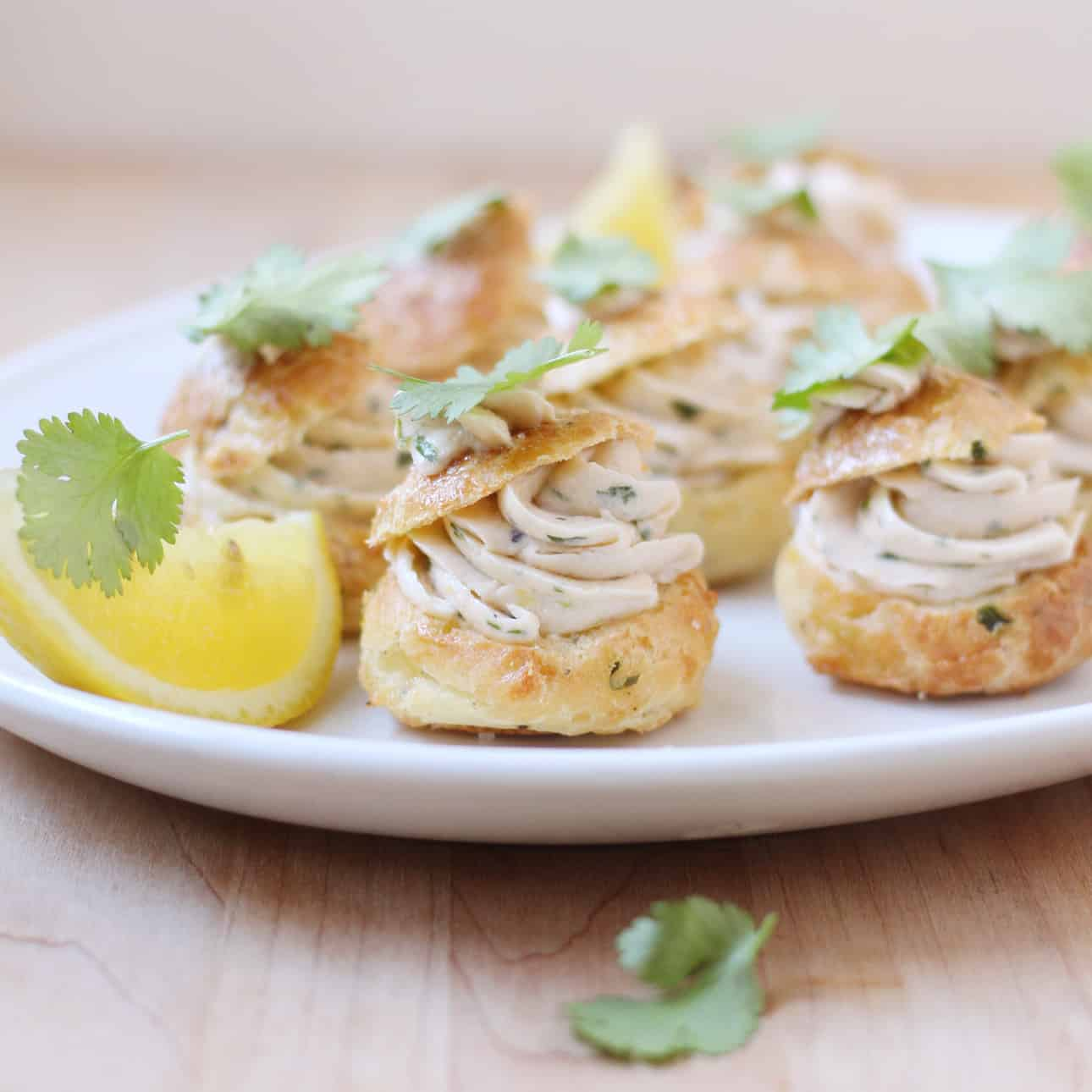 Parmesan Cheese Puffs with Smoked Salmon Mousse