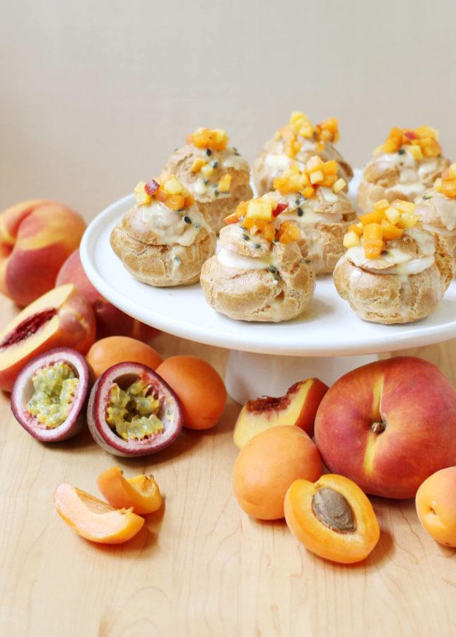 Apricot, Peach, and Passion Fruit Cream Puffs - Food Nouveau