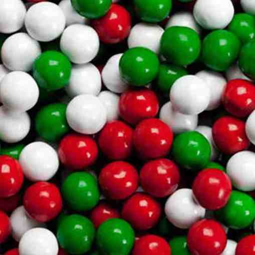 Red and Green Christmas Sixlets chocolate pieces