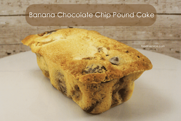 Homemade banana chocolate chip pound cake! Can you say delicious?