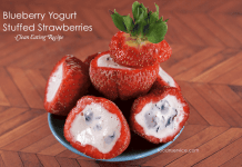 Strawberries stuff with blueberry yogurt! A great clean eating recipe!