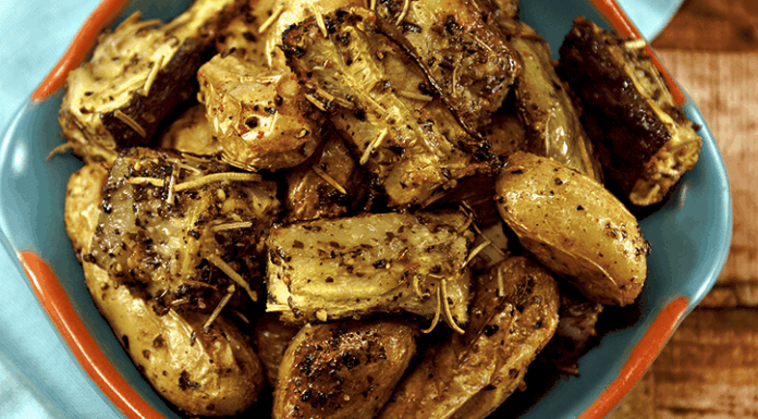 Oven Roasted Potatoes & Zucchini make for a perfect side dish or a complete meal! Great for Vegans & Vegetarians!