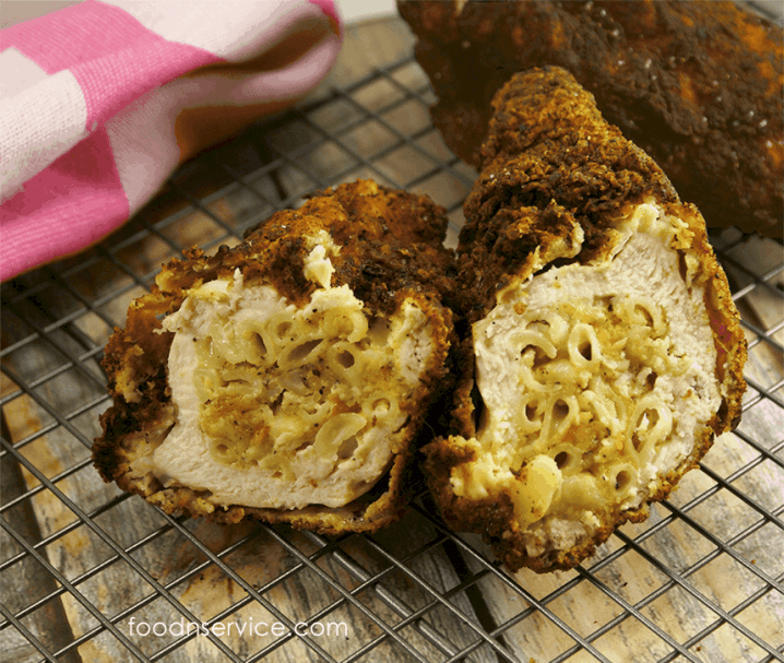 macaroni cheese stuffed fried chicken