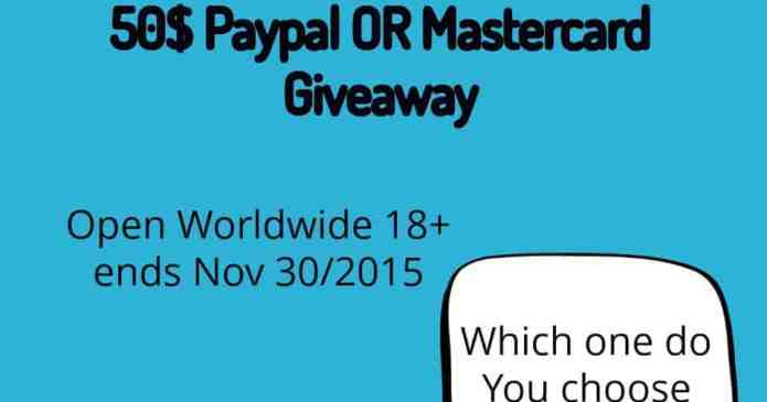 Paypal Cash or Mastercard Gift Card Giveaway!