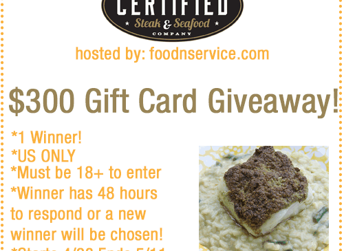 Certified Steak & Seafood $300 Gift Card Giveaway!