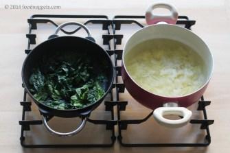 2. Appassisci gli spinaci e lessa le patate