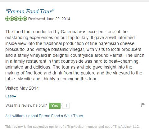 Tripadvisor review Food n walk tours in Parma, Bologna, Italy