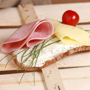 Ham on Bread with Cheese and Chives