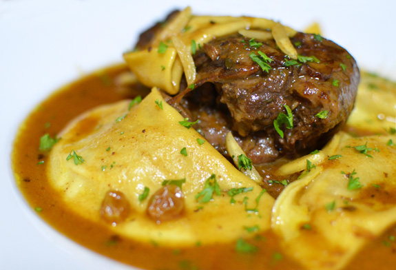 Russian Cuisine - Leg of Venison in Moscovite Sauce with Pumpkin Varenyky