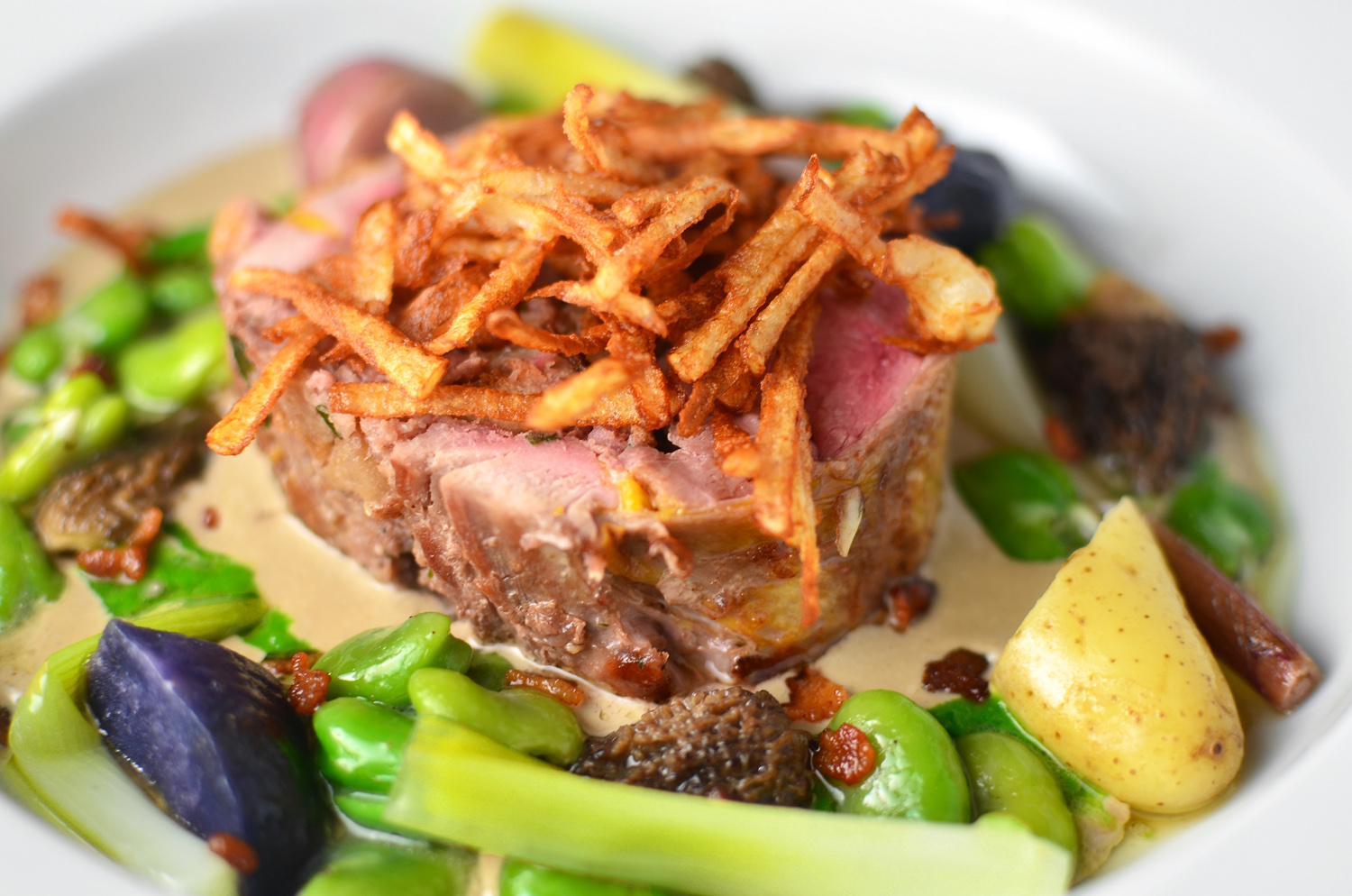 Stuffed Wild Pheasant with Morel Coulis and Spring Vegetables