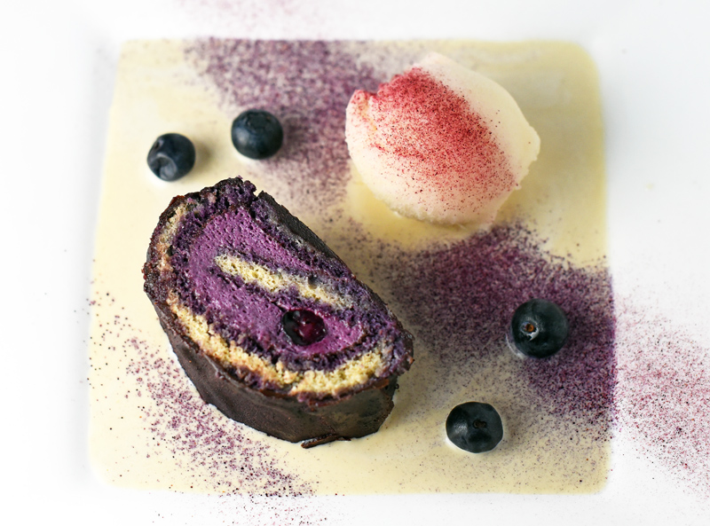 Blueberry-Chocolate Roll, Apple Sorbet, and Buckwheat Crème Anglaise
