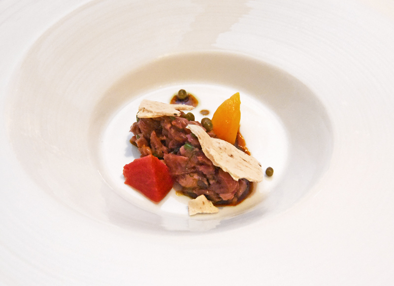 Manoir Hovey - Le Hatley Restaurant - Goose Tartare with Beets, Truffle Cracker, Capers, Elederflower Syrup