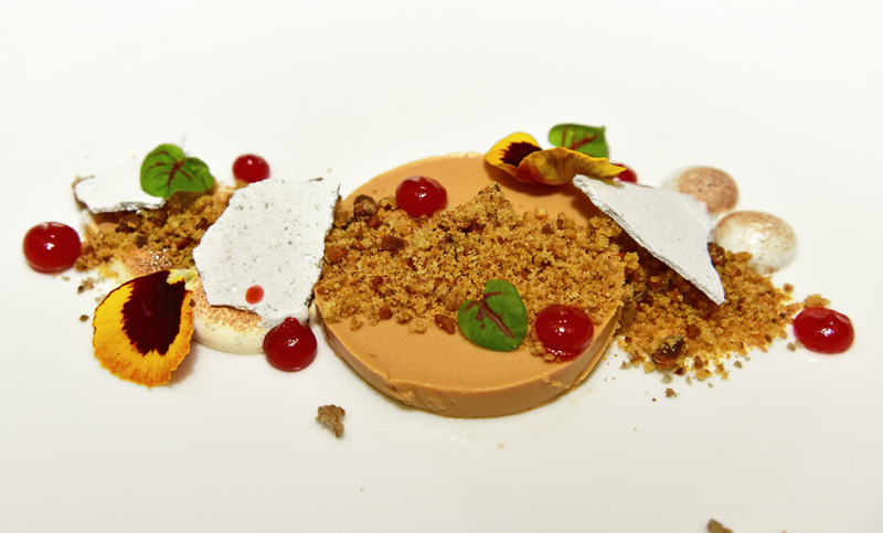 Manoir Hovey - Le Hatley Restaurant - Birch Syrup Panna Cotta, Pistachio Crumble, Strawberry and Sweet Clover Gel, Pine Meringue