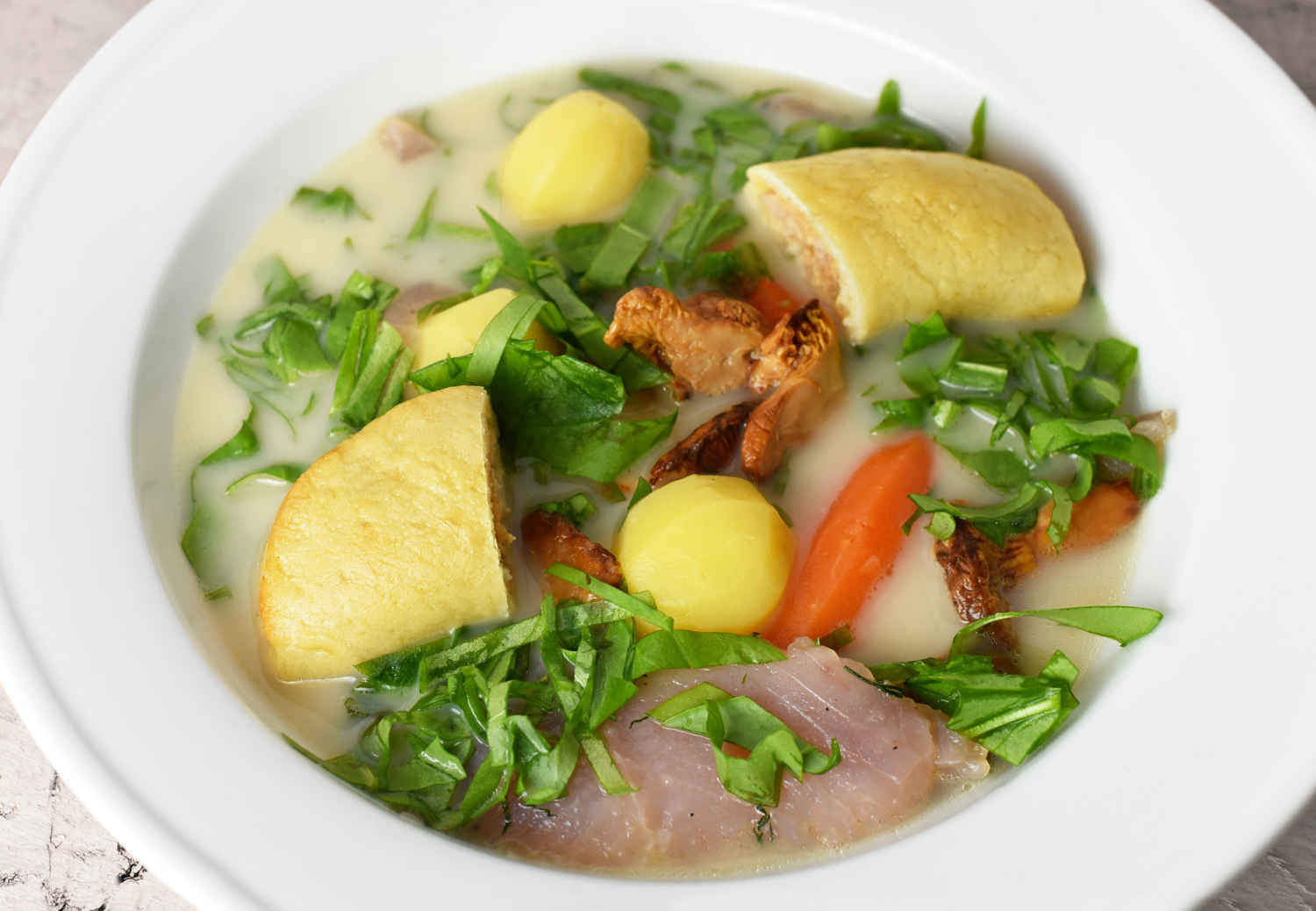 Russian Food - Trout Broth with Pirozhki