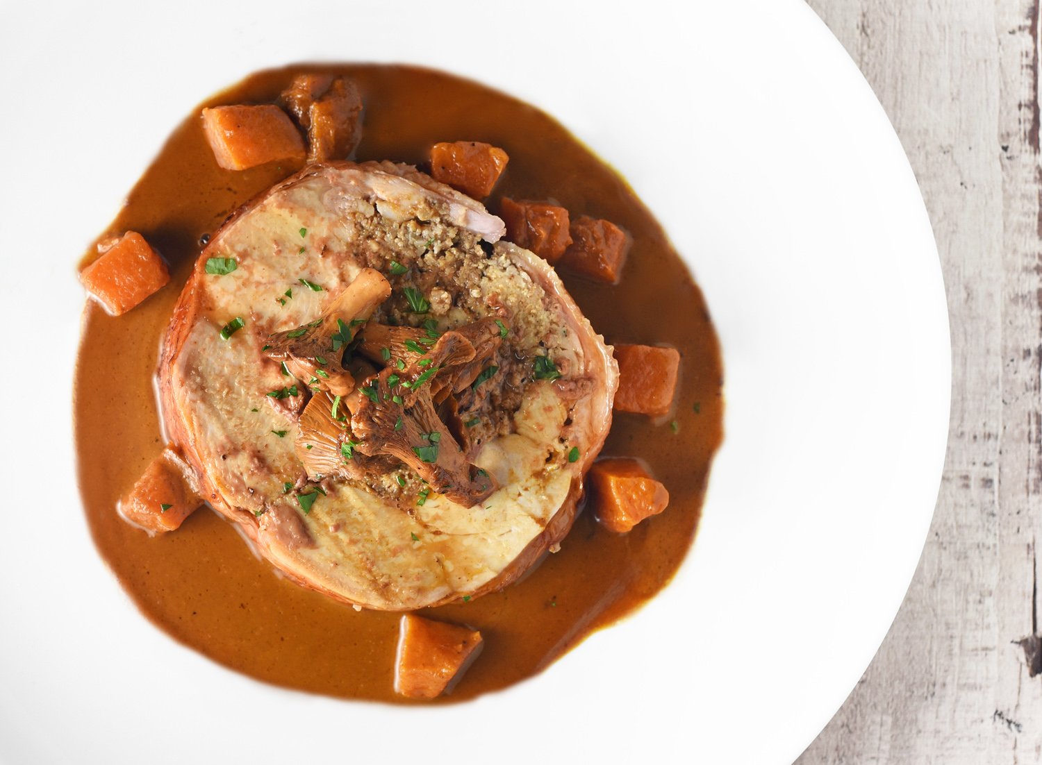 Eastern European Food - Stuffed Capon with Butternut Squash Paprikas and Chanterelles