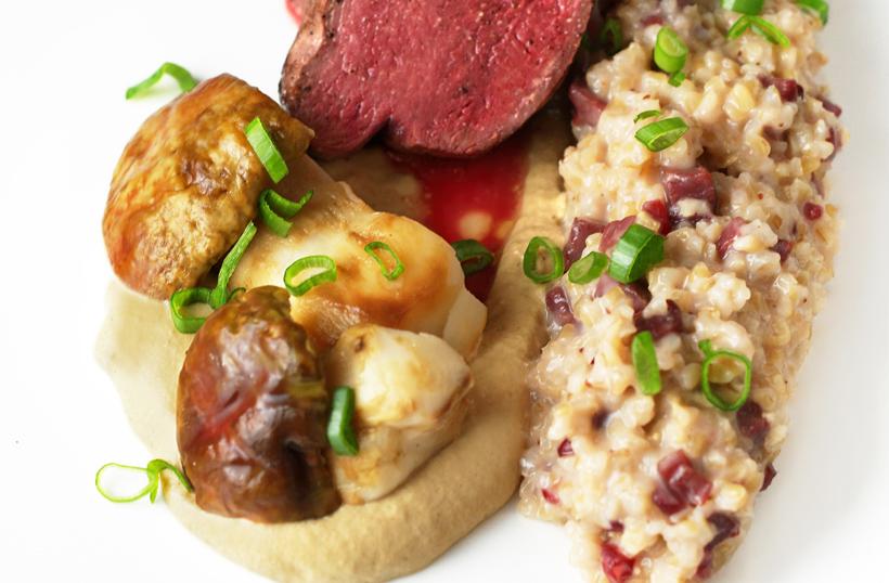 Russian Cuisine - Reindeer Fillet, Porcini and Lingonberry Bulgur