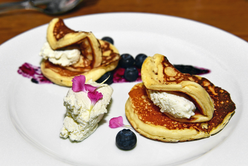 Bratislava - Kontakt Restaurant - Pancakes with Vanilla Curd Cheese and Blueberry Sauce