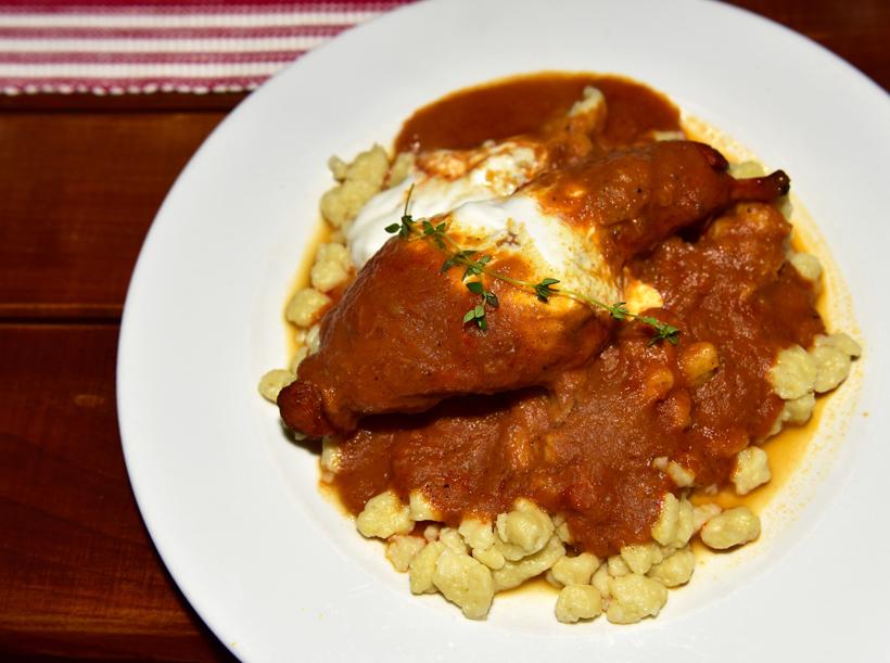 Bratislava - Modrá Hviezda Restaurant - Rabbit Paprikas with Halušky