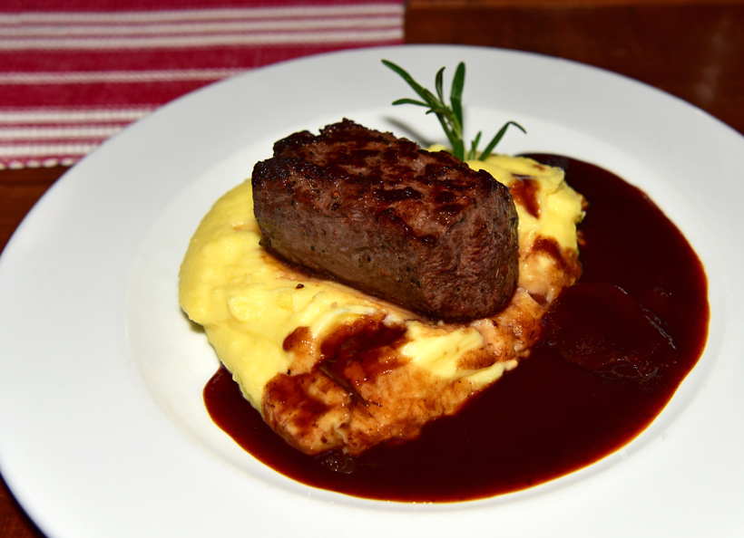 Bratislava - Modrá Hviezda Restaurant - Venison Medallion with Sour Plum Sauce and Mashed Potatoes