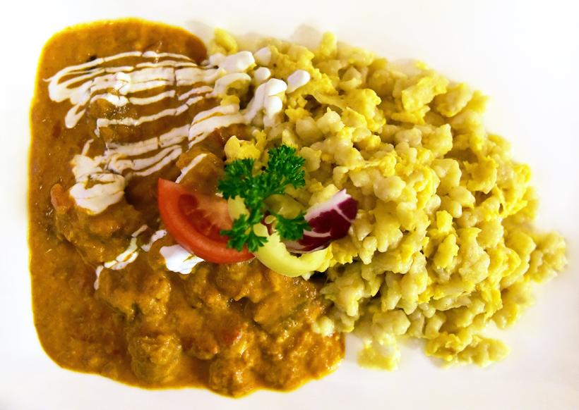 Sopron - Erhardt Restaurant - Veal Paprikas with Spaetzle