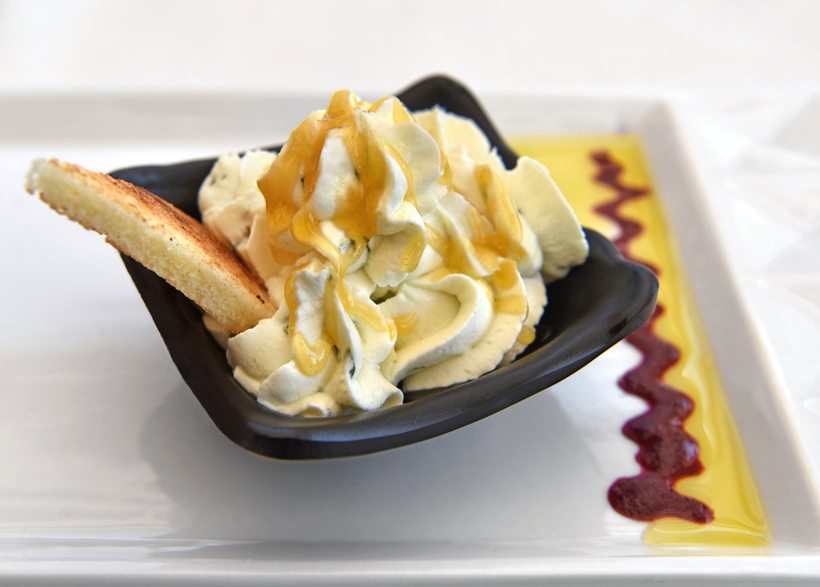 Skadar Lake - Jezero Restaurant - Cheese Mousse with Basil and Peach Sauce